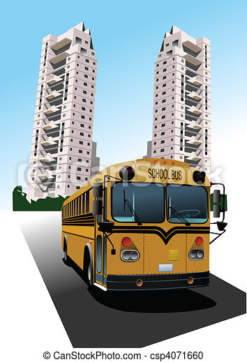 dormitório, escola, vetorial, bus. - csp4071660
