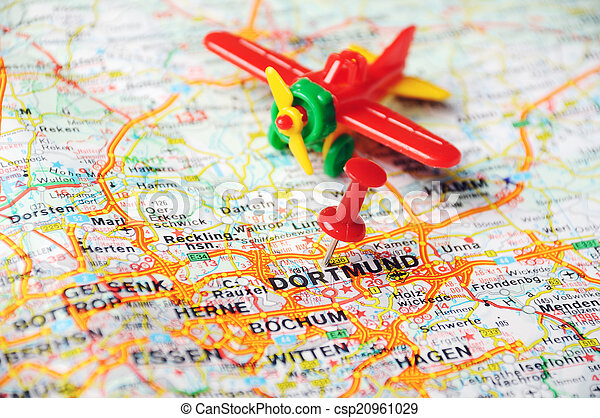 Dortmund On Map Of Germany.Dortmund Germany Map Airplan Close Up Of Dortmund Map With Red