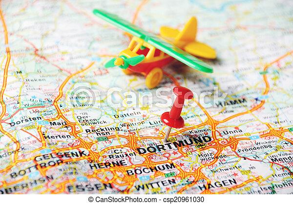 dortmund germany map airplan csp20961030