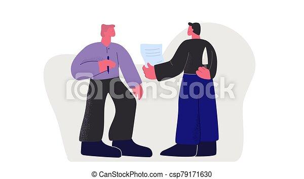 dos, affaire, homme affaires, fraude, contrat, confection, couteau, tenue, deux, signer, derrière, faux - csp79171630