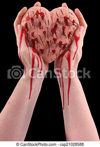 Dos manos. Corazón, dos, hurted, sangre, manos humanas,... imágenes ...