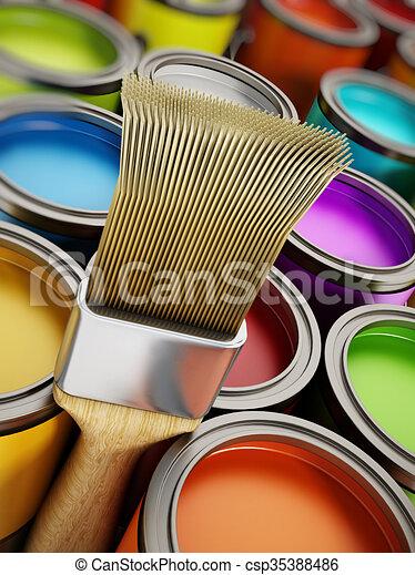 Dosen Malen Pinsel Multi Gefärbt Dosen Malen Stapel Pinsel