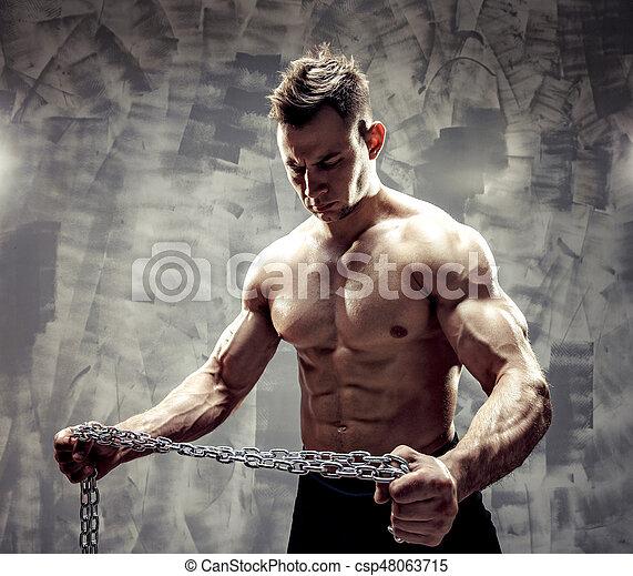 doskonały, ciało, straszliwy, -, bodybuilder, przedstawianie, samiec - csp48063715