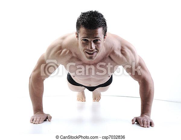 doskonały, ciało, straszliwy, -, bodybuilder, przedstawianie, samiec - csp7032836