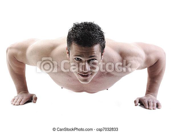 doskonały, ciało, straszliwy, -, bodybuilder, przedstawianie, samiec - csp7032833