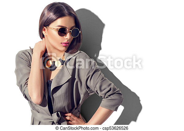 doskonały, kobieta, makijaż, przybory, odizolowany, sexy, modny, portret, biały - csp53626526