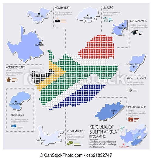 Dot And Flag Map Of South Africa Infographic Design - csp21832747