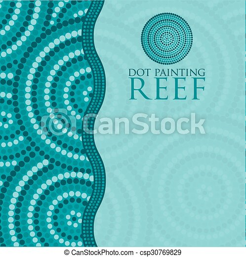 Dot painting invite/ greeting card in vector format. - csp30769829