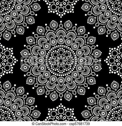 Dot Painting Monochrome Vector Seamless Pattern With Mandalas Australian Ethnic Design Aboriginal Dots