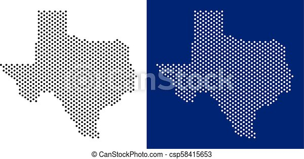 Dot Texas Map Pixel Texas Map Vector Geographic Map On White And