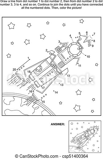 Dot-to-dot and coloring activity page - rocket, or spaceship - csp51400364