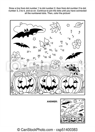 Dot To Dot And Coloring Page Halloween Bat