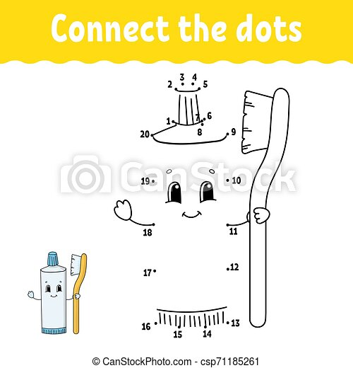 Dot To Dot. Draw A Line. Handwriting Practice. Learning Numbers For Kids.  Education Developing Worksheet. Activity Page. Game CanStock