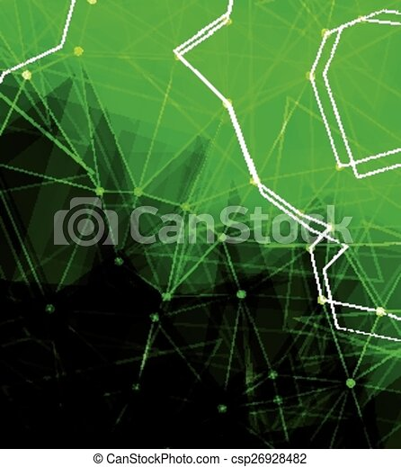Dots with connections, triangles light background - csp26928482