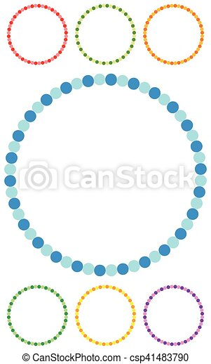 Dotted circle clip-art in seven colors. Dotted circle frames / borders - csp41483790