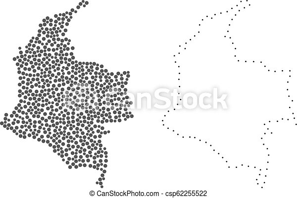 Dotted contour map of colombia. Dotted and frame map of colombia ...
