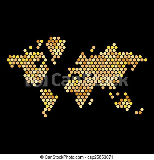 Dotted Gold Colors World Map Isolated on Black. Vector - csp25853071
