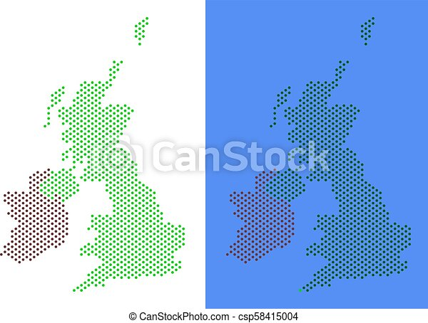 Britain And Ireland Map.Dotted Great Britain And Ireland Map Dot Great Britain And Ireland