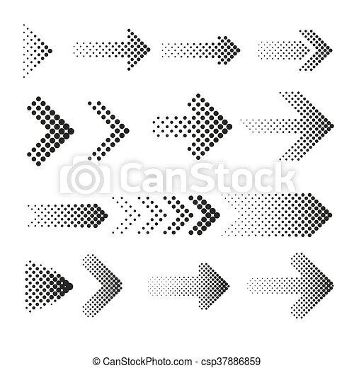 dotted halftone arrows vector set arrow dot arrow halftone web rh canstockphoto com Arrow Vector Clip Art Vintage Arrow Vector