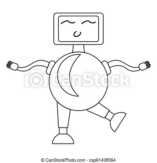 Dotted line cute robot toy icon - csp61438564