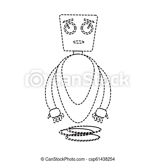 Dotted line cute robot toy icon - csp61438254