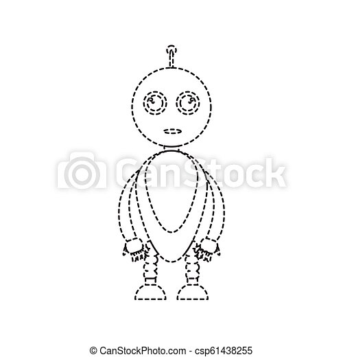Dotted line cute robot toy icon - csp61438255