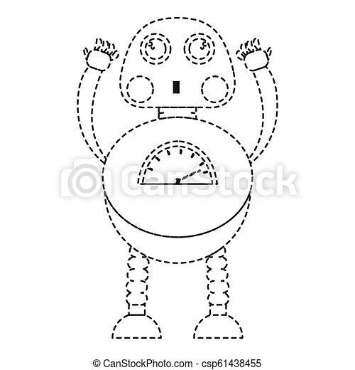 Dotted line cute robot toy icon - csp61438455