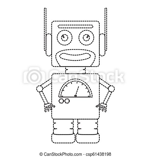 Dotted line cute robot toy icon - csp61438198