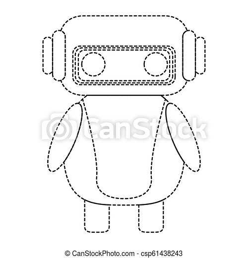 Dotted line cute robot toy icon - csp61438243