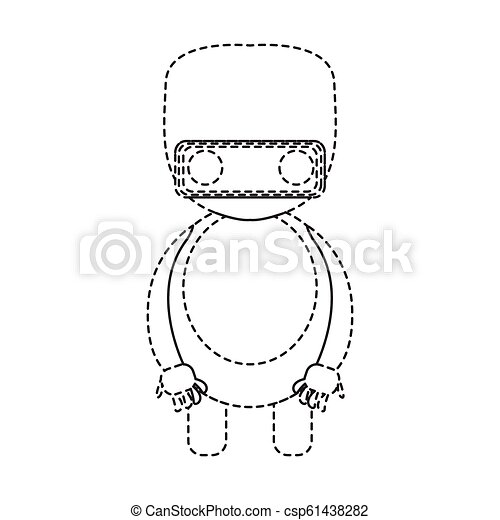 Dotted line cute robot toy icon - csp61438282