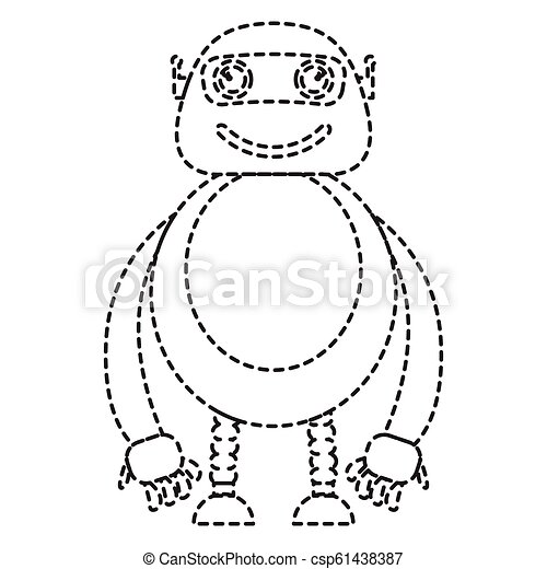 Dotted line cute robot toy icon - csp61438387