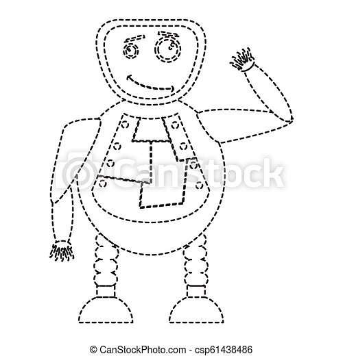 Dotted line cute robot toy icon - csp61438486