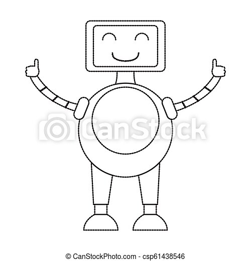 Dotted line cute robot toy icon - csp61438546