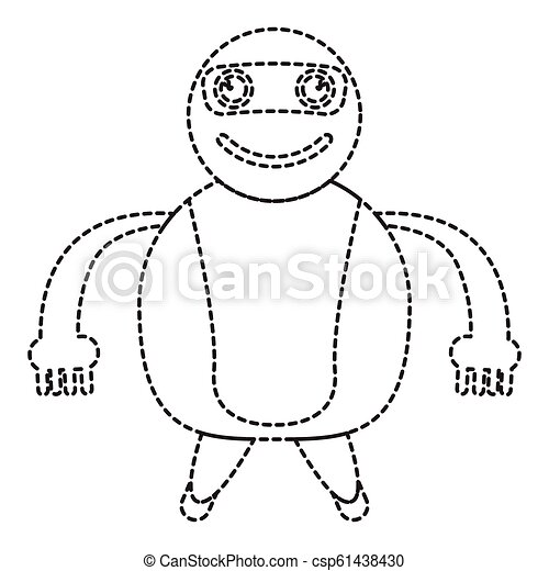 Dotted line cute robot toy icon - csp61438430