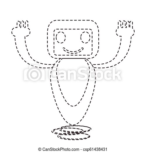 Dotted line cute robot toy icon - csp61438431