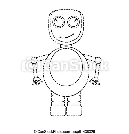 Dotted line cute robot toy icon - csp61438326