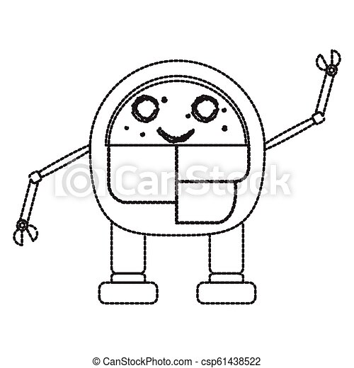 Dotted line cute robot toy icon - csp61438522