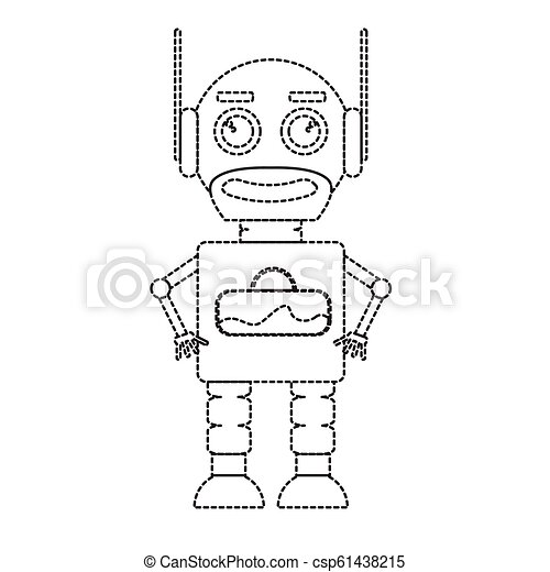 Dotted line cute robot toy icon - csp61438215