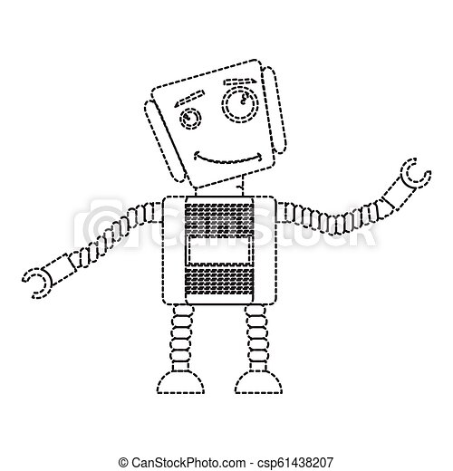 Dotted line cute robot toy icon - csp61438207