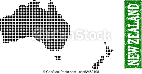 Dotted Map Of Australia And New Zealand And Grunge Rectangle Rounded Caption