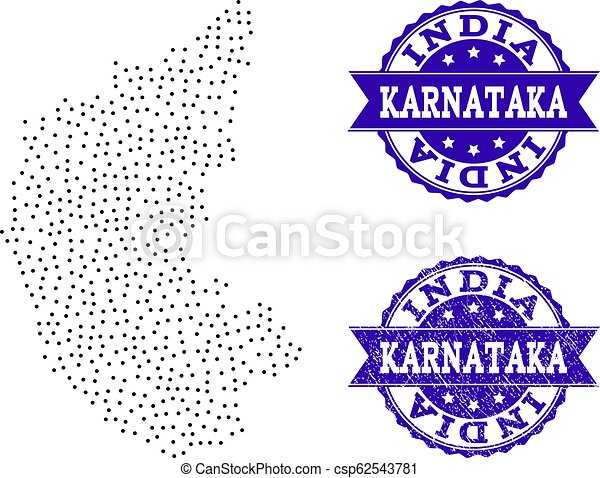 Dotted map of karnataka state and distress seal collage. Dotted ...