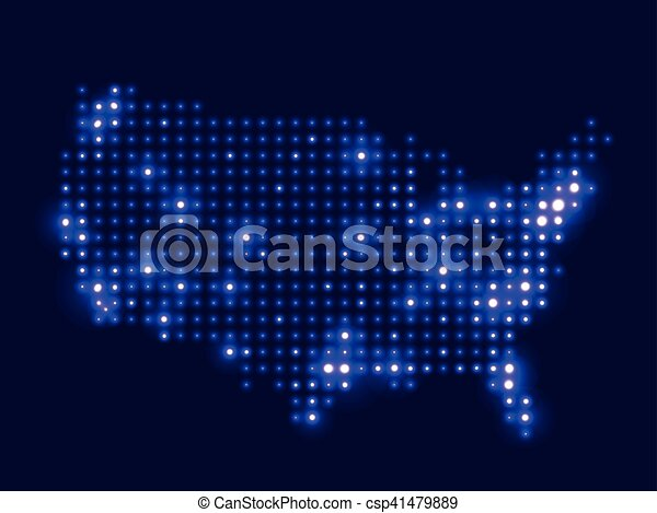 Dotted Night Map Usa Dotted Night Map United States Of America - Us-map-night
