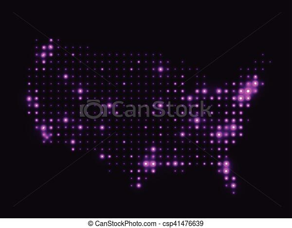 Map Of Usa At Night.Dotted Night Map Usa Dotted Night Map United States Of America