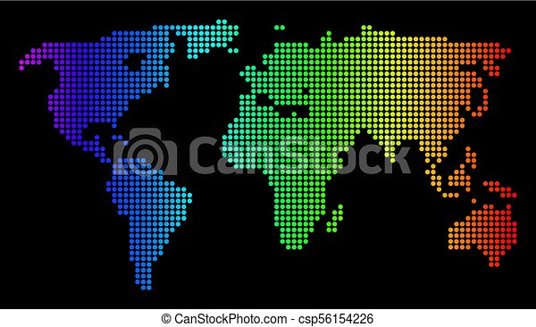 Dotted pixel spectrum world map dotted pixel world map vector dotted pixel world map vector geographic map in bright spectrum colors on a black background color vector composition of world map combined of small gumiabroncs Choice Image