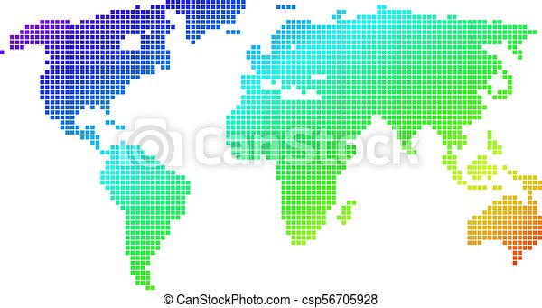 Dotted pixel spectrum world map spectrum dotted pixel world map spectrum dotted pixel world map vector geographic map in bright colors on a white background spectrum has diagonal gradient gumiabroncs Choice Image