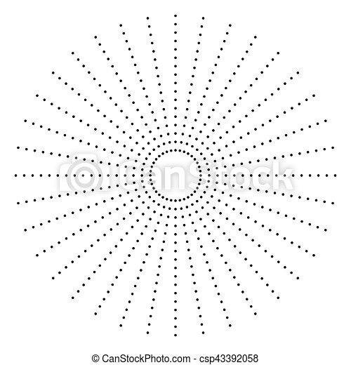 Dotted radial element. Circle, circular pattern shape - csp43392058