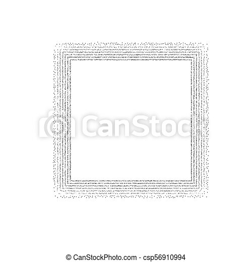 Dotted square frame. White square frame with dots halftone around.