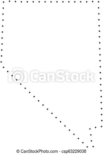 Dotted Stroke Nevada State Map Vector Stroke Dotted Nevada State Map In Black Color Small Border Points Have Diamond Shape
