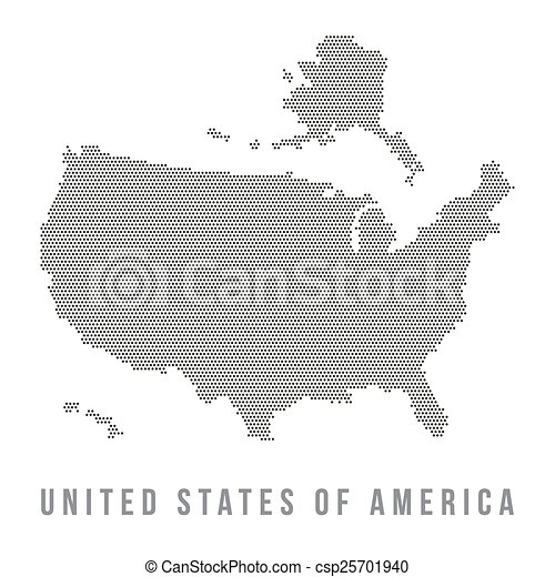 dotted usa map on white background csp25701940