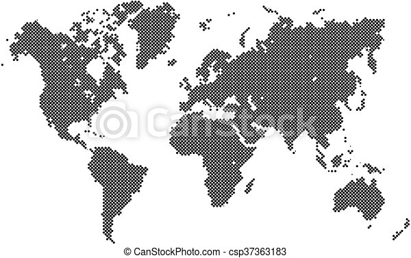 Dotted vector world map. Dotted map of world. world map made of ...